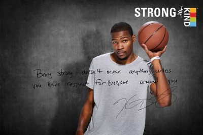 "KIND Healthy Snacks (KIND) and NBA star Kevin Durant unveil movement to show it's strong to be kind(TM). Partnership looks to change perceptions of strength and kindness, and to rally Americans to stand up. ""Being strong doesn't mean anything unless you have respect for everyone around you,"" says Durant. (Photo courtesy of KIND Healthy Snacks)"